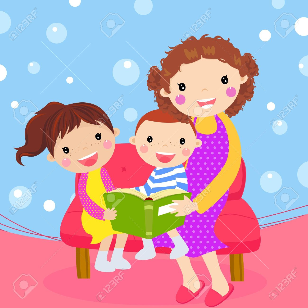 14906265-Young-mother-reading-book-to-her-children--Stock-Vector-cartoon